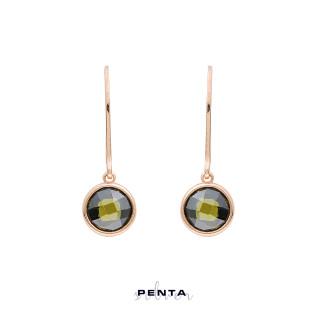 Penta Silver - Renkli Taşlı Sallantı Gümüş Küpe