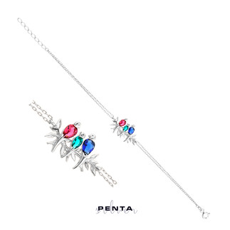 Penta Silver - Renkli Taşlı Üçlü Kumru Gümüş Bileklik