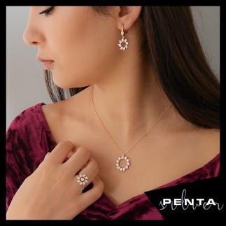 Penta Silver - Rüzgar Gülü Gümüş Takı Seti