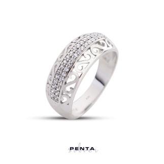 Penta Silver - S Motifli Alyans Gümüş Yüzük