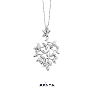 Penta Silver - Salkım Yaprak Gümüş Kolye (1)