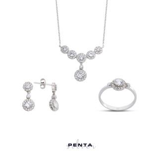 Penta Silver - Sallantı Anturaj Çiçek Gümüş Takı Seti