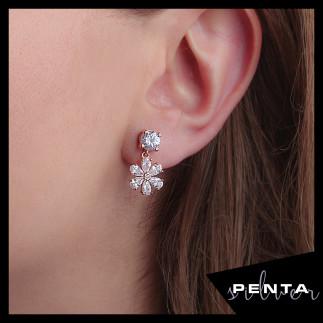 Penta Silver - Sallantı Çiçek Gümüş Küpe