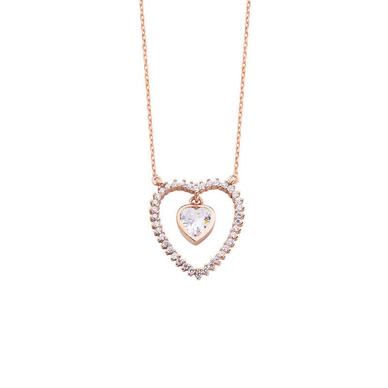 Sallantı Kalp Taşlı Kalpli Gümüş Kolye