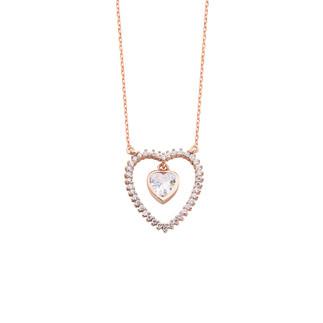 Sallantı Kalp Taşlı Kalpli Gümüş Kolye - Thumbnail