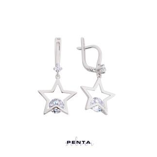 Penta Silver - Sallantı Taşlı Yıldız Gümüş Küpe