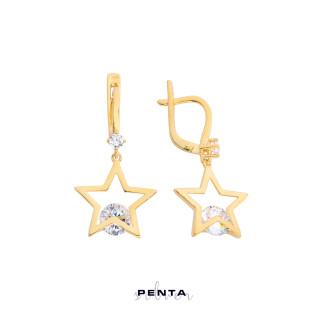 Sallantı Taşlı Yıldız Gümüş Küpe - Thumbnail