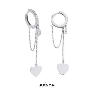 Penta Silver - Sallantılı Kalpli Zincirli Halka Gümüş Küpe