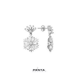 Penta Silver - Sallantılı Kar Tanesi Gümüş Küpe (1)