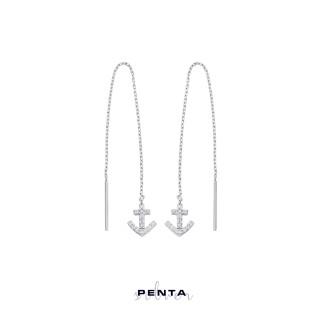 Penta Silver - Sallantılı Zincirli Çapa Gümüş Küpe (1)