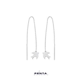 Penta Silver - Sallantılı Zincirli Kırlangıç Gümüş Küpe