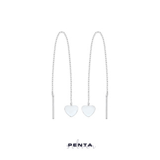 Penta Silver - Sallantılı Zincirli Levha Kalp Gümüş Küpe