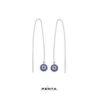 Penta Silver - Sallantılı Zincirli Nazar Gümüş Küpe (1)