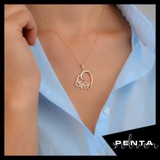 Penta Silver - Sarmaşık Kalpli Gümüş Kolye