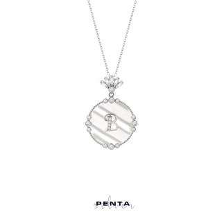 Penta Silver - Sedefli Harfli Gümüş Kolye