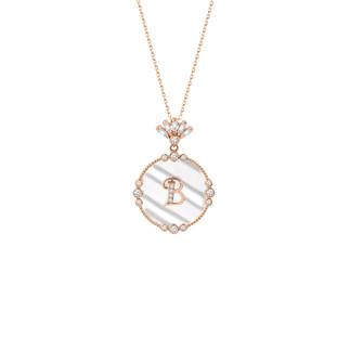 Sedefli Harfli Gümüş Kolye - Thumbnail