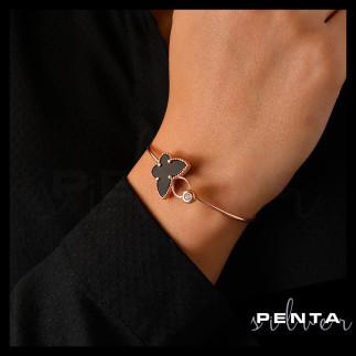 Penta Silver - Sedefli Kelebek Kelepçe Gümüş Bileklik (1)