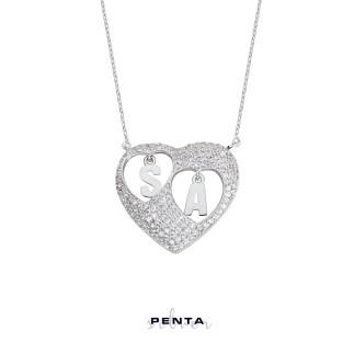 Penta Silver - Sen ve Ben Kalpli Harfli Gümüş Kolye
