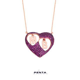 Penta Silver - Sen ve Ben Kalpli Harfli Gümüş Kolye (1)