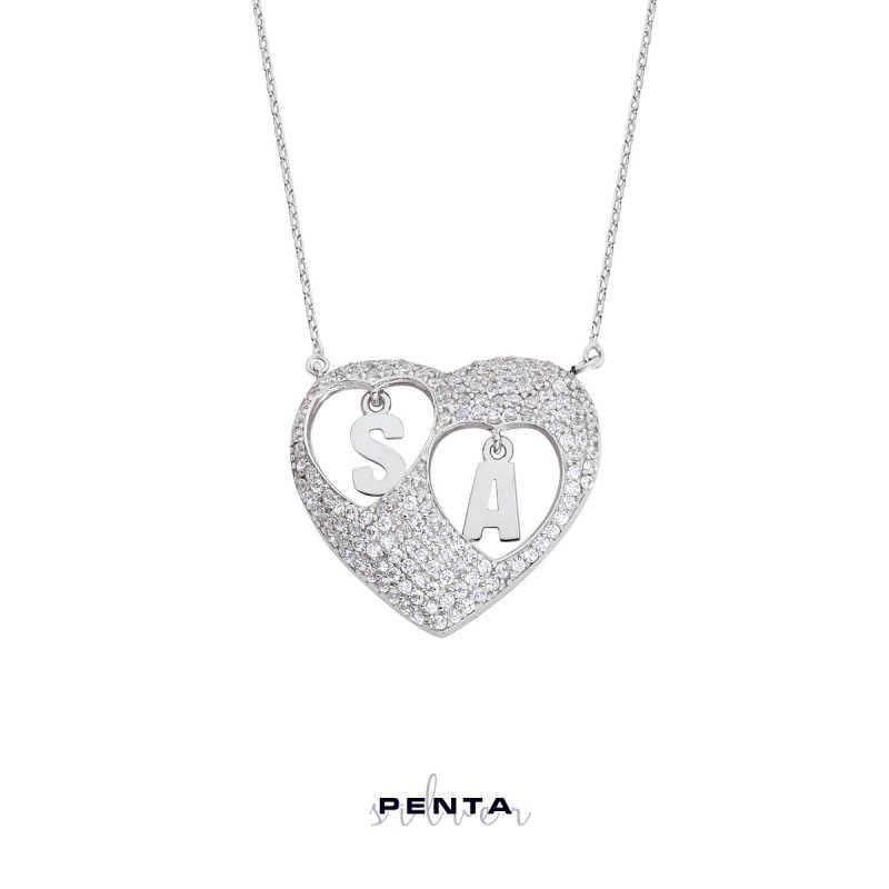 Sen ve Ben Kalpli Harfli Gümüş Kolye
