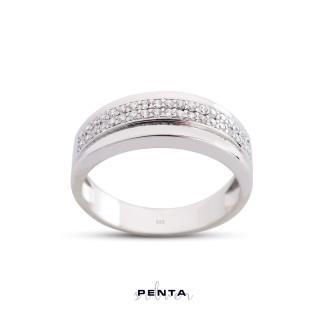 Penta Silver - Şerit Alyans Gümüş Yüzük