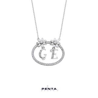 Penta Silver - Sevgi Çemberi Harfli Gümüş Kolye (1)