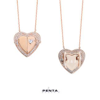 Sevgimiz Kalpli İsimli Gümüş Kolye - Thumbnail