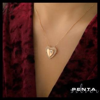 Penta Silver - Sevgimiz Kalpli İsimli Gümüş Kolye