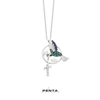 Penta Silver - Sinek Kuşlu Harfli Gümüş Kolye (1)