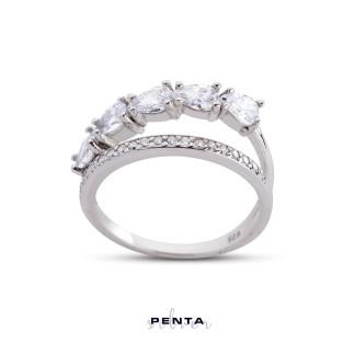 Penta Silver - Sıra Damla Alyans Gümüş Yüzük