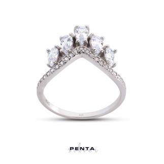 Penta Silver - Sıra Damla Taç Gümüş Yüzük
