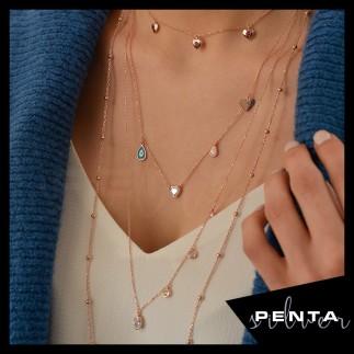 Penta Silver - Sıra Kalpli Uzun Zincir Gümüş Kolye (1)