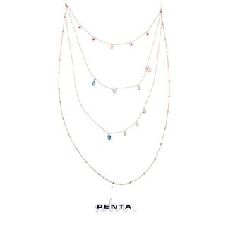 Sıra Kalpli Uzun Zincir Gümüş Kolye - Thumbnail