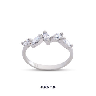 Penta Silver - Sıra Markiz Taşlı Gümüş Yüzük