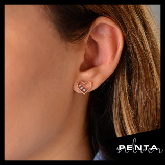 Penta Silver - Sıra Taş Kalp Gümüş Küpe (1)