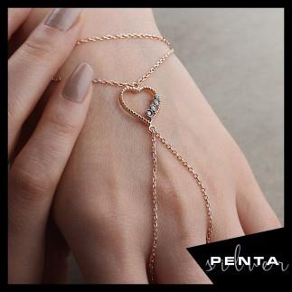 Penta Silver - Sıra Taş Kalp Gümüş Şahmeran Bileklik