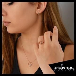 Penta Silver - Sıra Taş Kalp Gümüş Takı Seti