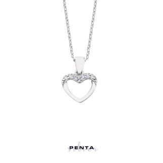Penta Silver - Sıra Taşlı Kalp Gümüş Kolye (1)