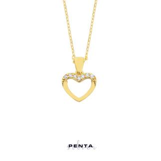Sıra Taşlı Kalp Gümüş Kolye - Thumbnail