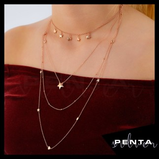 Penta Silver - Sıra Yıldız Uzun Zincir Gümüş Kolye (1)