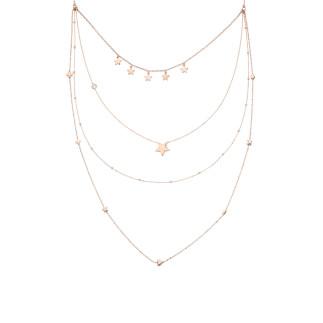 Sıra Yıldız Uzun Zincir Gümüş Kolye - Thumbnail