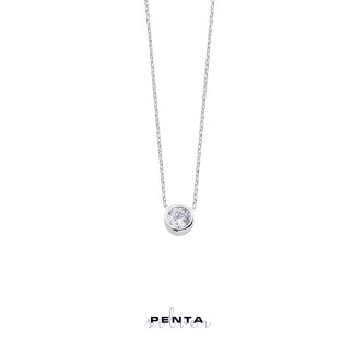 Penta Silver - Sıvama Tektaş Gümüş Kolye (1)