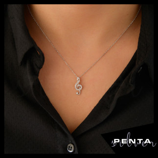 Penta Silver - Sol Anahtarı Gümüş Kolye (1)