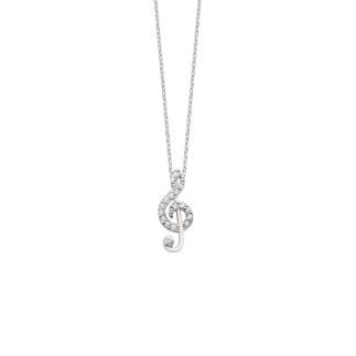 Sol Anahtarı Gümüş Kolye - Thumbnail