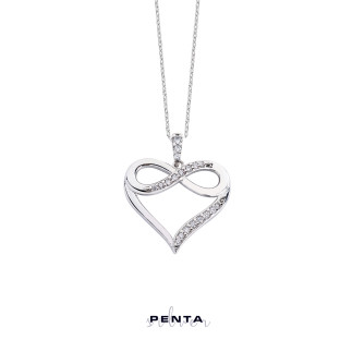 Penta Silver - Sonsuzluk Motifli Zirkon Taşlı Kalpli Gümüş Kolye