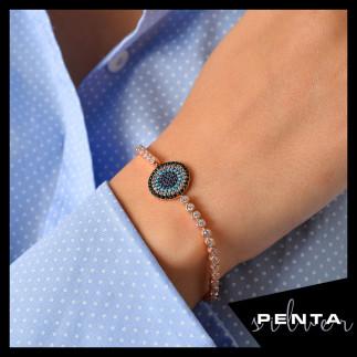 Penta Silver - Su Yolu Asansörlü Nazarlı Gümüş Bileklik