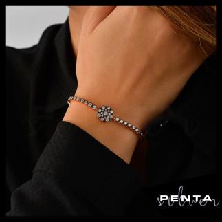 Penta Silver - Su Yolu Çiçek Motifli Asansörlü Gümüş Bileklik (1)