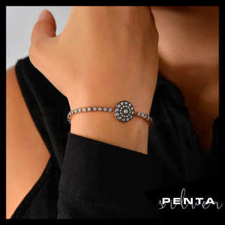 Penta Silver - Su Yolu Gül Motifli Asansörlü Gümüş Bileklik