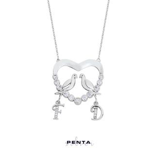 Penta Silver - Su Yolu Kalpli Harfli Gümüş Kolye (1)