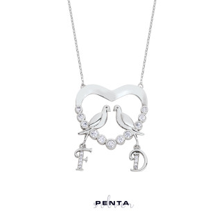 Penta Silver - Su Yolu Kalpli Harfli Gümüş Kolye